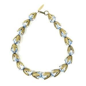 Lenora Dame Speckled Antique Gold Leaf Necklace
